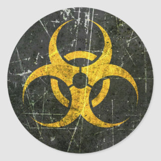 Scratched and Worn Yellow Biohazard Symbol Round Sticker