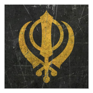 Scratched and Worn Yellow Sikh Khanda Symbol 13 Cm X 13 Cm Square Invitation Card