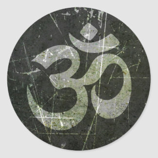 Scratched and Worn Yoga Om Symbol Classic Round Sticker