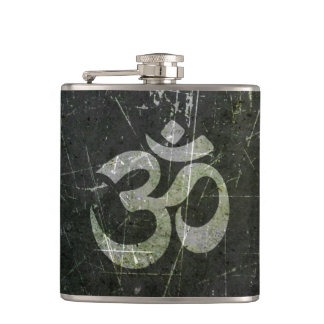 Scratched and Worn Yoga Om Symbol Hip Flask