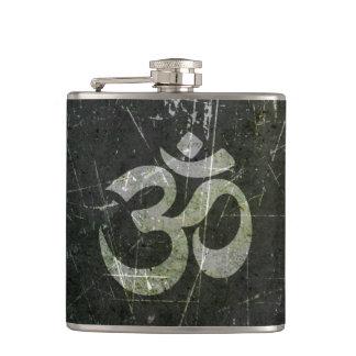 Scratched and Worn Yoga Om Symbol Flasks