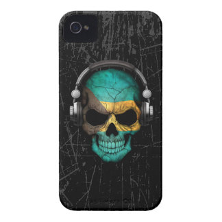 Scratched Bahamas Dj Skull with Headphones iPhone 4 Case
