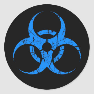 Scratched Blue Biohazard Symbol on Black Classic Round Sticker