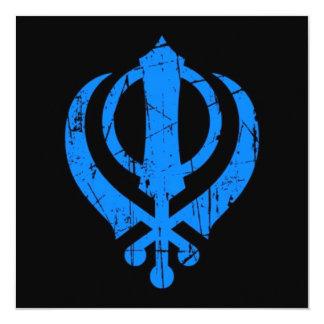 Scratched Blue Sikh Khanda Symbol on Black 13 Cm X 13 Cm Square Invitation Card