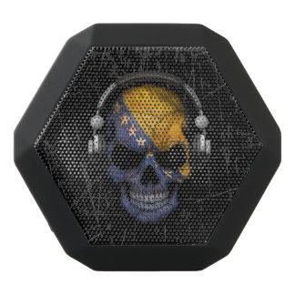 Scratched Bosnian Dj Skull with Headphones Black Boombot Rex Bluetooth Speaker
