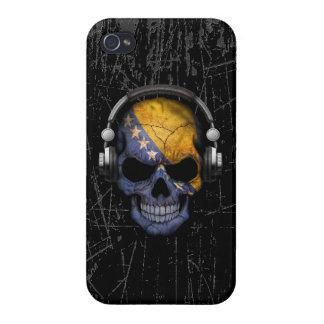 Scratched Bosnian Dj Skull with Headphones iPhone 4/4S Cases