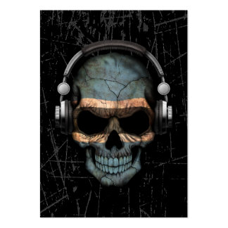 Scratched Botswana Dj Skull with Headphones Pack Of Chubby Business Cards