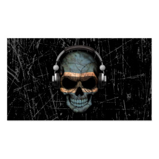 Scratched Botswana Dj Skull with Headphones Pack Of Standard Business Cards