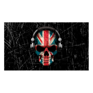 Scratched British Dj Skull with Headphones Pack Of Standard Business Cards