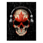 Scratched Canadian Dj Skull with Headphones