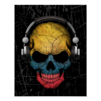 Scratched Colombian Dj Skull with Headphones Poster