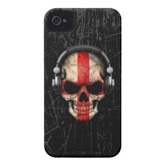 Scratched English Dj Skull with Headphones iPhone 4 Case-Mate Case