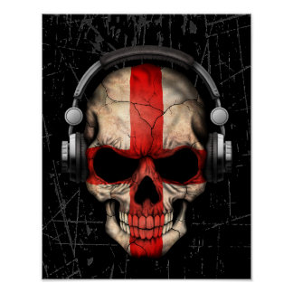 Scratched English Dj Skull with Headphones Poster