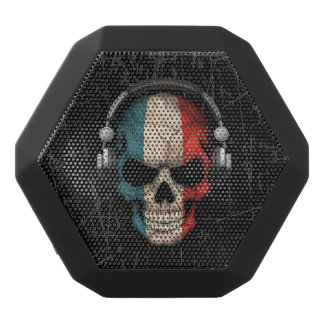 Scratched French Dj Skull with Headphones Black Boombot Rex Bluetooth Speaker