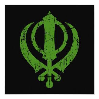 Scratched Green Sikh Khanda Symbol on Black 13 Cm X 13 Cm Square Invitation Card