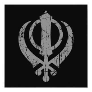 Scratched Grey Sikh Khanda Symbol on Black 13 Cm X 13 Cm Square Invitation Card