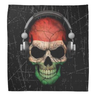 Scratched Hungarian Dj Skull with Headphones Bandana