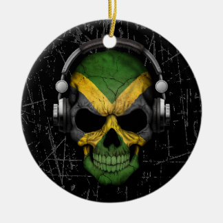Scratched Jamaican Dj Skull with Headphones Christmas Ornament
