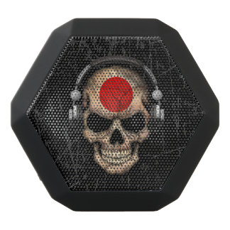 Scratched Japanese Dj Skull with Headphones Black Boombot Rex Bluetooth Speaker