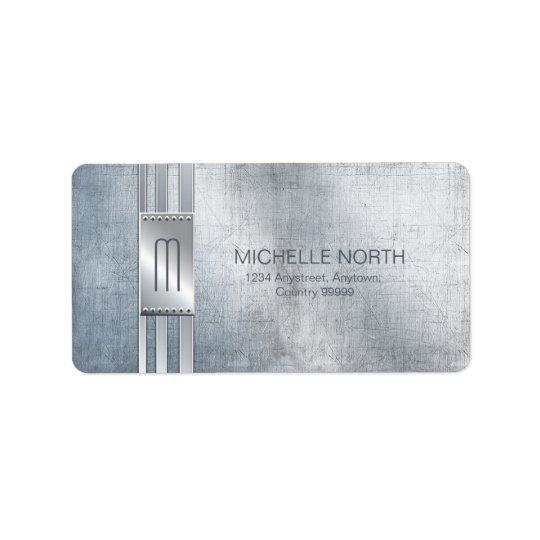 Scratched Metal Stripes Monogram Blue ID443 Address Label