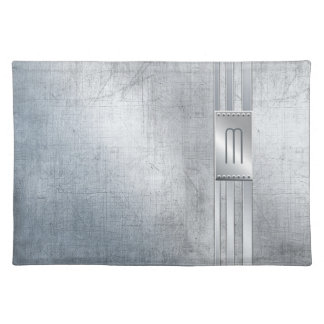 Scratched Metal Stripes Monogram Blue ID443 Placemat