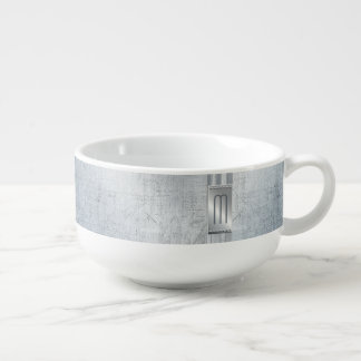 Scratched Metal Stripes Monogram Blue ID443 Soup Mug