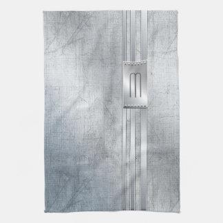 Scratched Metal Stripes Monogram Blue ID443 Tea Towel