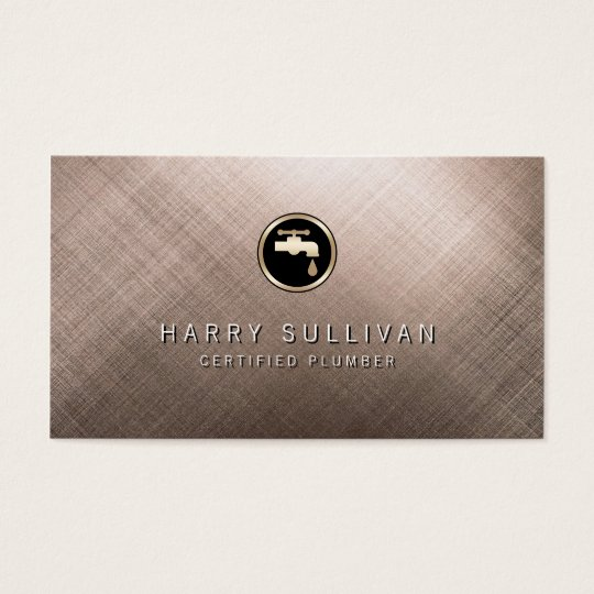 Scratched Metal Water Faucet Plumber Business Card