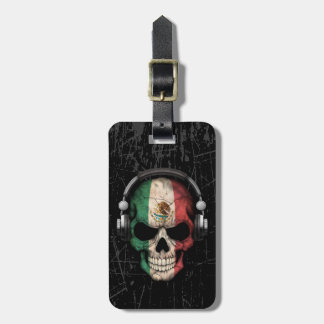 Scratched Mexican Dj Skull with Headphones Luggage Tag