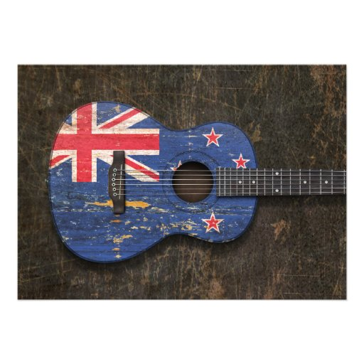 Scratched New Zealand Flag Acoustic Guitar Personalized Invitations