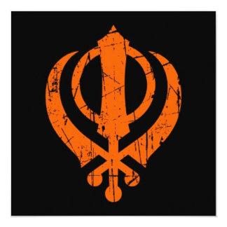 Scratched Orange Sikh Khanda Symbol on Black 13 Cm X 13 Cm Square Invitation Card