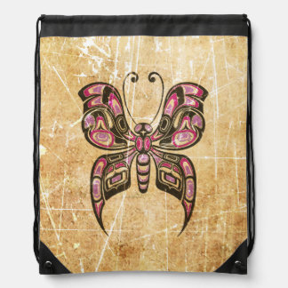 Scratched Pink and Black Haida Spirit Butterfly Drawstring Backpacks