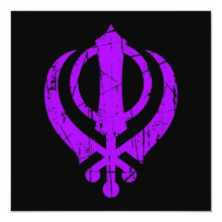 Scratched Purple Sikh Khanda Symbol on Black 13 Cm X 13 Cm Square Invitation Card