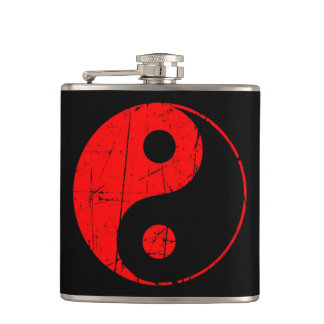 Scratched Red and Black Vintage Yin Yang Hip Flask