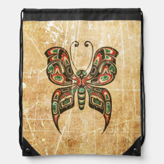 Scratched Red and Green Haida Spirit Butterfly Rucksack