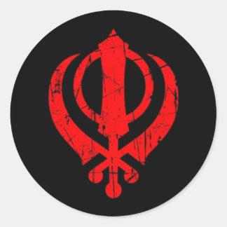 Scratched Red Sikh Khanda Symbol on Black Classic Round Sticker