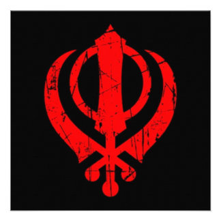 Scratched Red Sikh Khanda Symbol on Black Invite