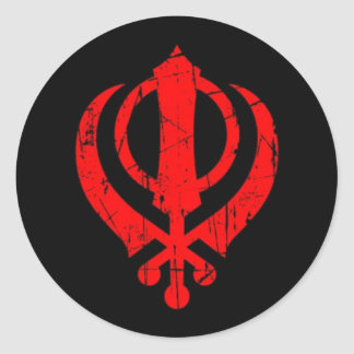 Scratched Red Sikh Khanda Symbol on Black Round Sticker
