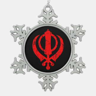 Scratched Red Sikh Khanda Symbol on Black Snowflake Pewter Christmas Ornament