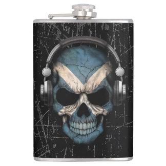 Scratched Scottish Dj Skull with Headphones Flasks