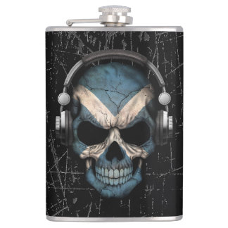 Scratched Scottish Dj Skull with Headphones Hip Flask