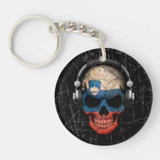 Scratched Slovenian Dj Skull with Headphones Key Ring