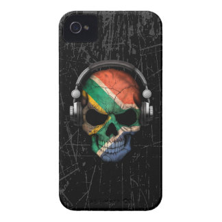 Scratched South African Dj Skull with Headphones iPhone 4 Case-Mate Cases