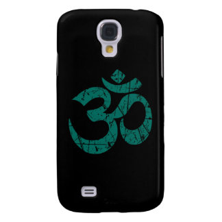 Scratched Teal Blue Yoga Om Symbol on Black Galaxy S4 Case