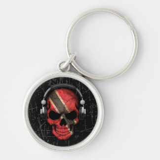 Scratched Trinidadian Dj Skull with Headphones Silver-Colored Round Key Ring