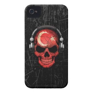 Scratched Turkish Dj Skull with Headphones Case-Mate iPhone 4 Cases