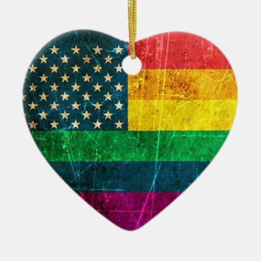 Scratched Vintage Gay Pride American Rainbow Flag Christmas Ornaments