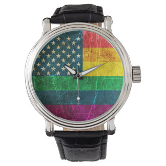 Scratched Vintage Gay Pride American Rainbow Flag Watch
