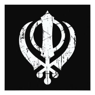 Scratched White Sikh Khanda Symbol on Black 13 Cm X 13 Cm Square Invitation Card