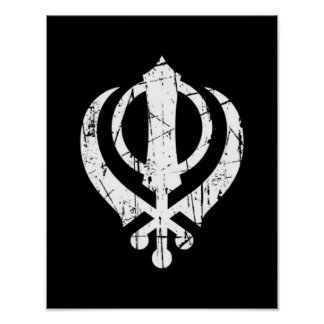 Scratched White Sikh Khanda Symbol on Black Poster